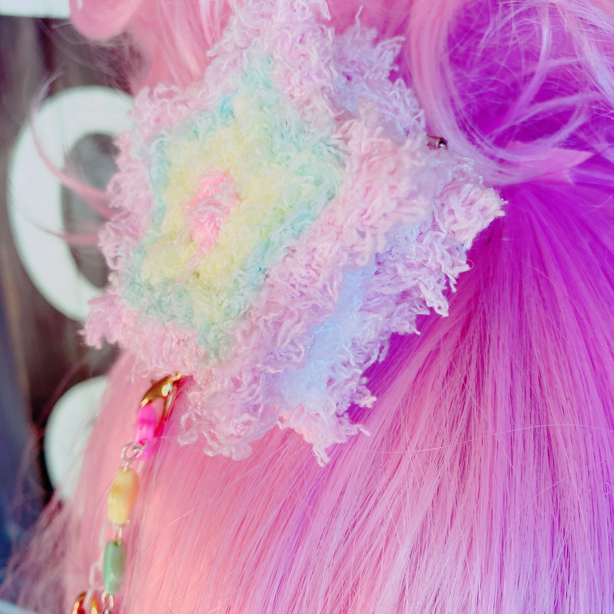 Rainbow Fuzzy Macaroon Star Dangle 2 Way Hair Clip Double Macaron