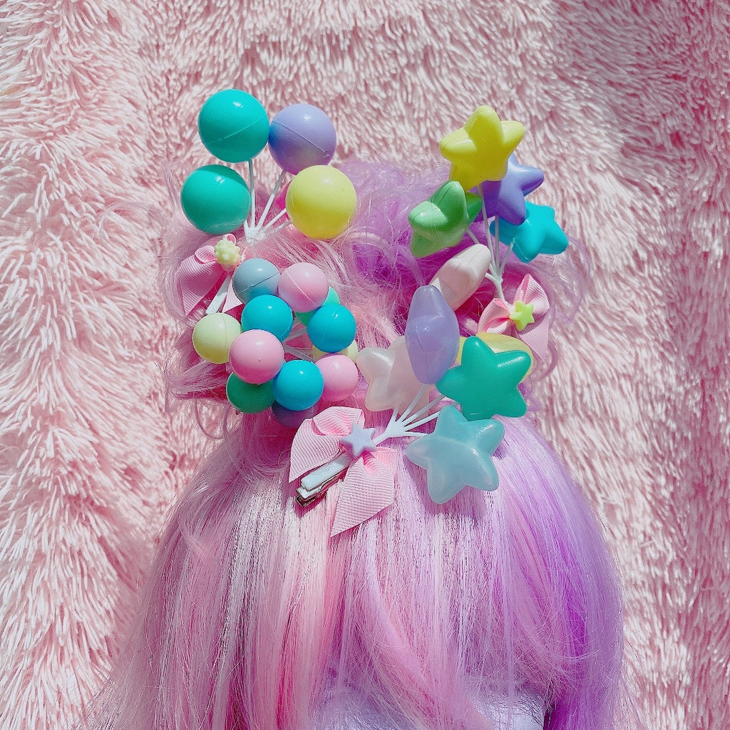 Fairy Kei Pastel  Balloon Hair Clips or Pin Pastel Star Balloon Hair Clips Decora Sweet Lolita