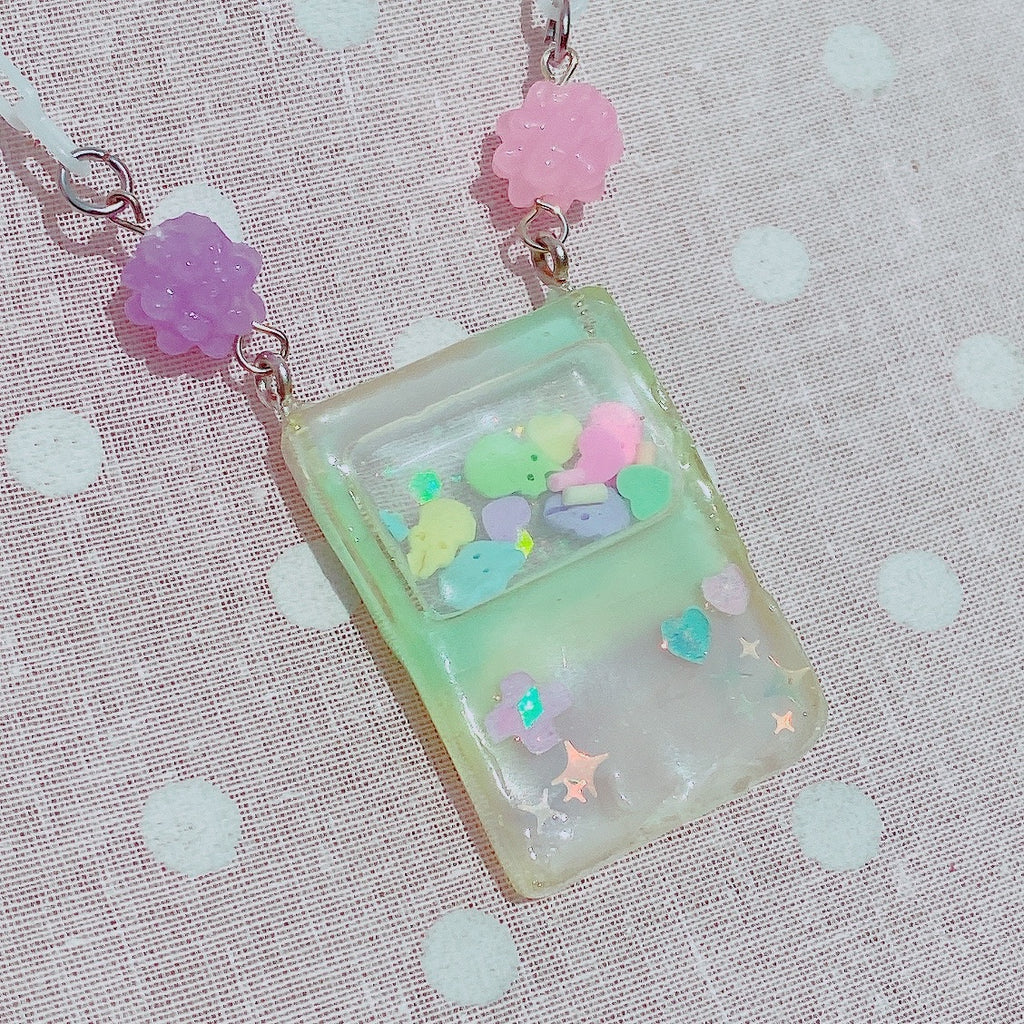 Mini Kawaii gameboy Peep Shaker necklace
