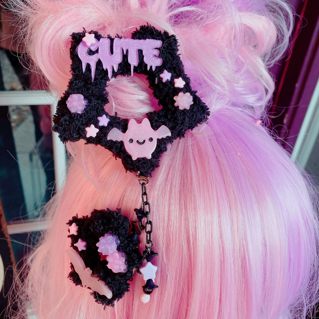 Creepy Cute Fuzzy Star Dangle Hair Clip Halloween Pastel Goth 2 Way Star Clip