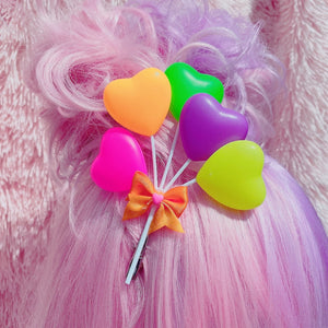 Vibrant Decora Kawaii Hearts And Stars Balloon Hair Clips Or Pins