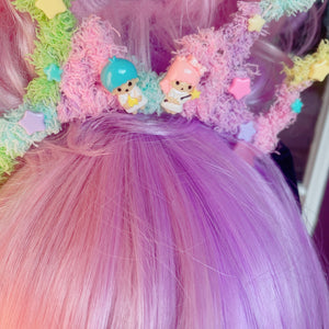 Pastel goth Pastel Rainbow Fuzzy Bat Headband Little Twin Stars Kawaii Rainbow Bat Halloween