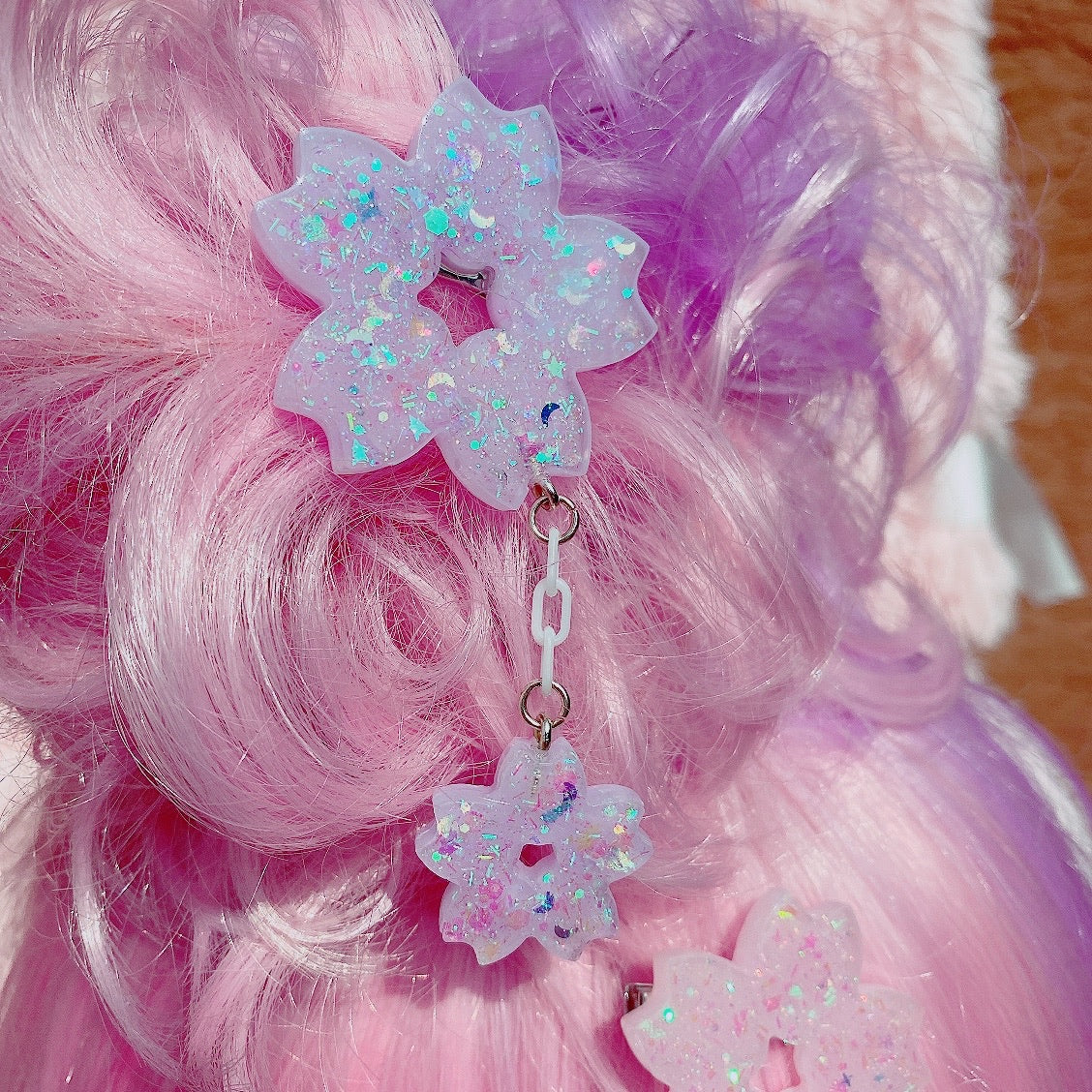 Kawaii Sakura Dangle Hair Clips Pick One