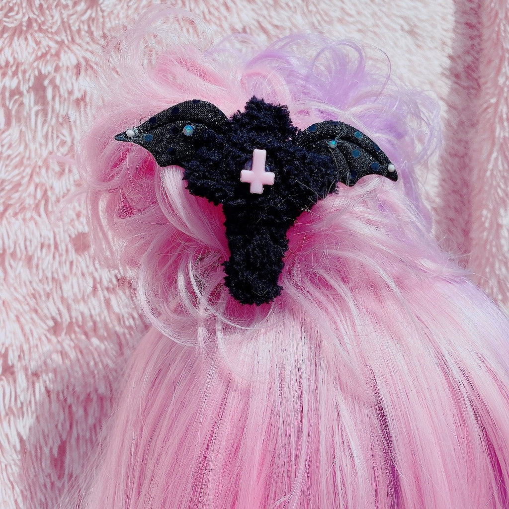 Creepy Cute Halloween Pastel Goth Black Cross Fuzzy Hair Clip 2 Way Clip