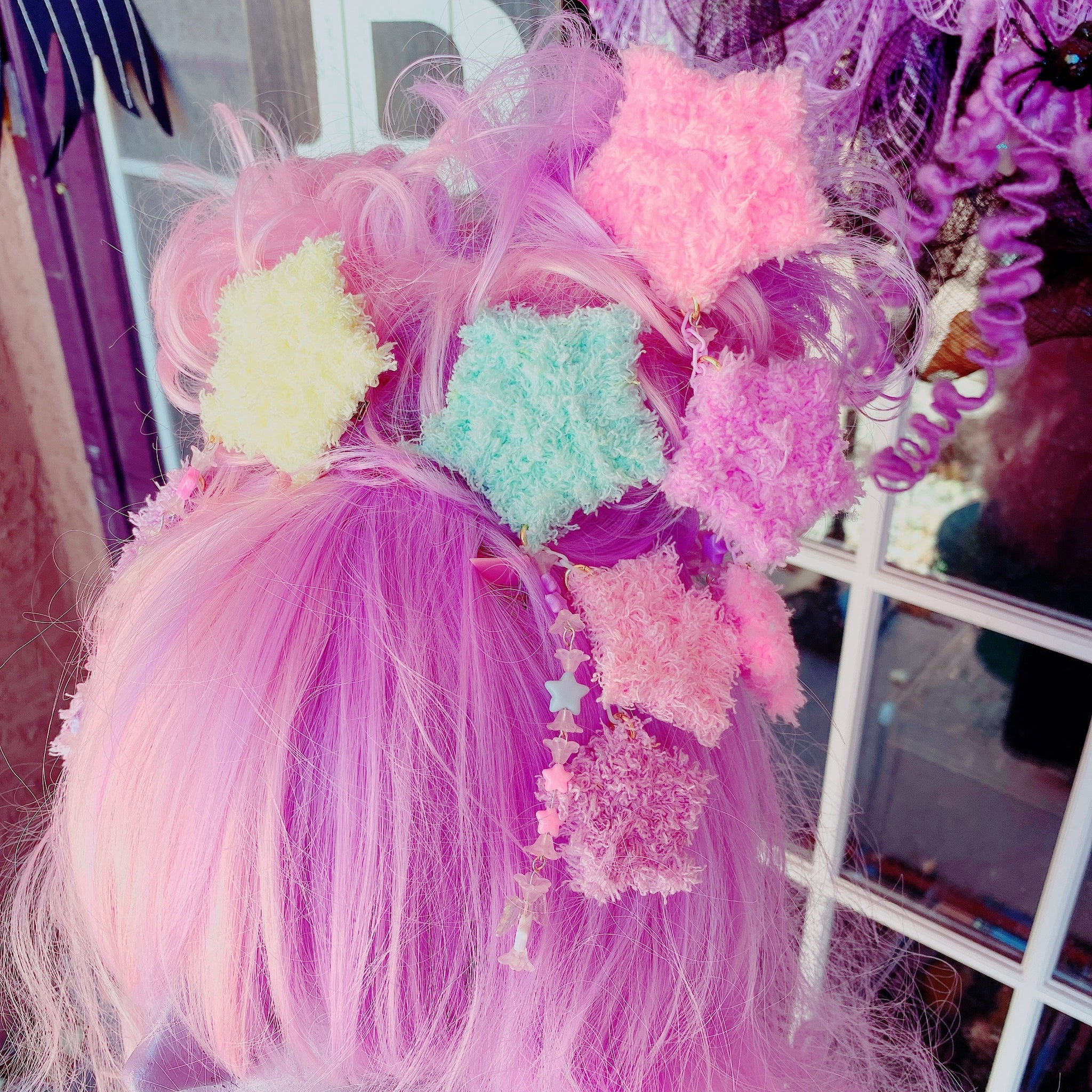 Blue Fuzzy Star 2 Way Dangle Hair Clip Chocomint Inspired Pastel Fairy Kei Sweet Lolita Kawaii Stars