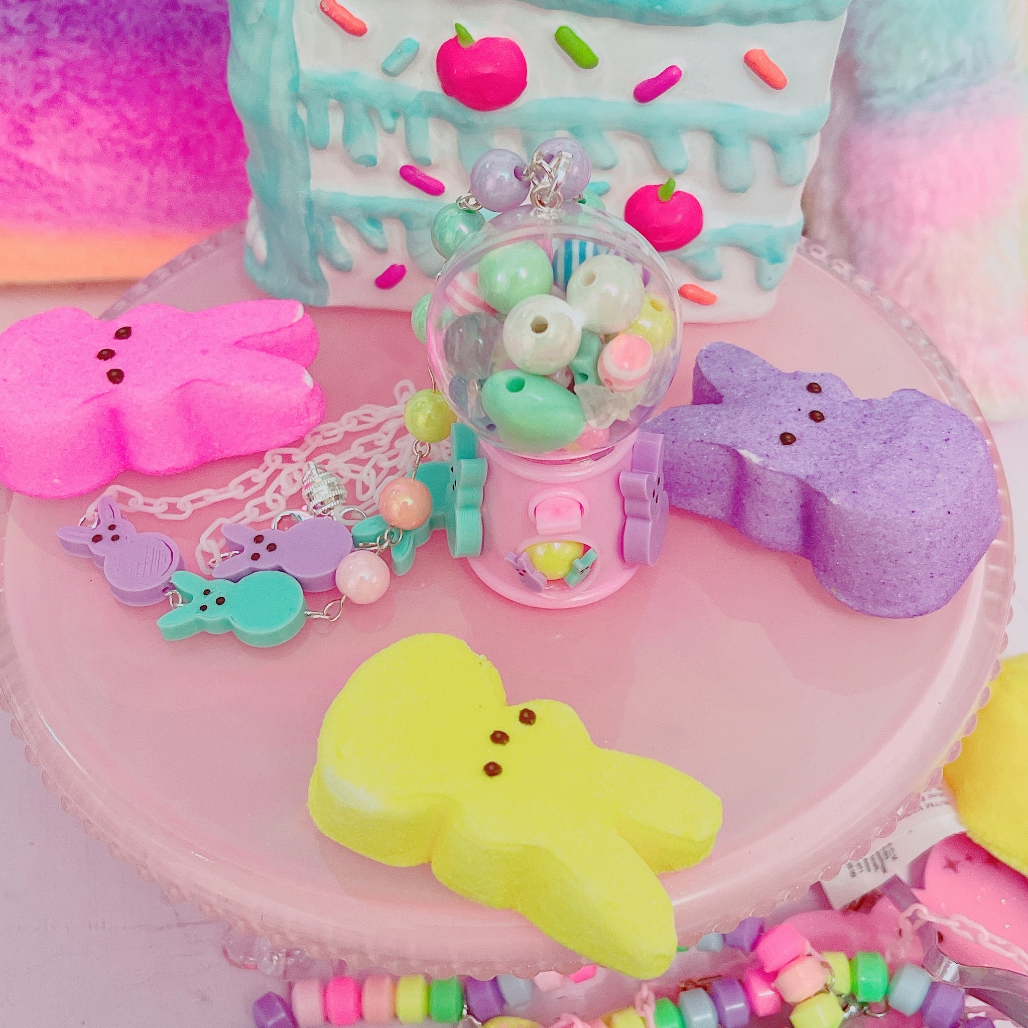 Kawaii Peep Fairy Kei Gumball machine necklace