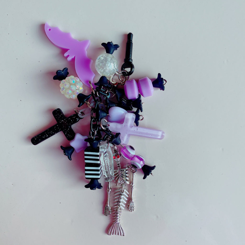 Creepy Cute Halloween Candy Phone Charm / Bag Charm Skeleton Mermaid Pastel Goth