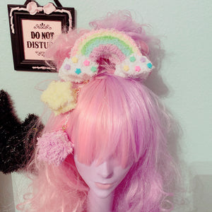 Rainbow Macaron Fuzzy Star Deluxe 2 Way Dangle Star Macaron Hair Cilp
