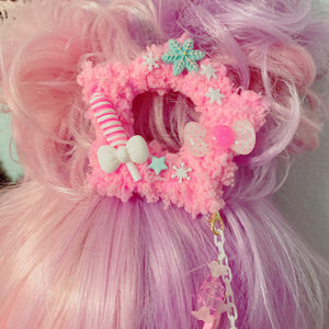 Pink Winter Pastel Fuzzy Star 2way Dangle Hair Clip