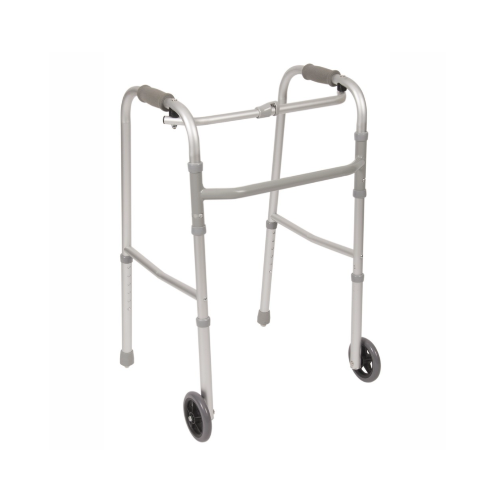 Single Button Folding Walker, Standard With Two Wheels And Two Skis