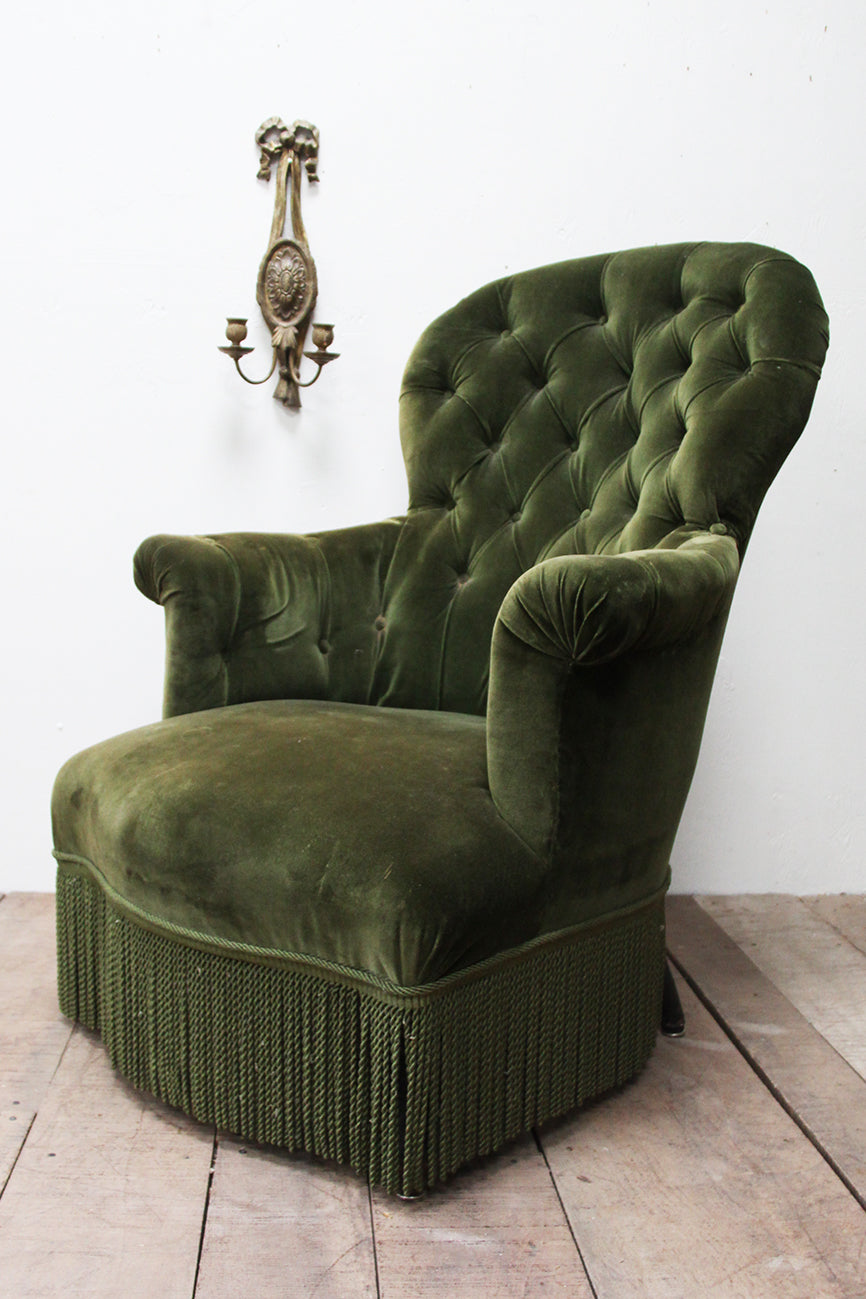 Mid 1800's French button back armchair (Reserved)
