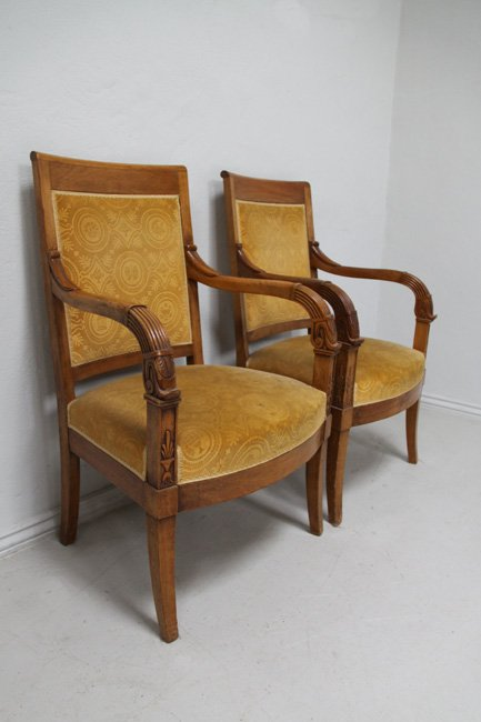 Pair open arm chairs