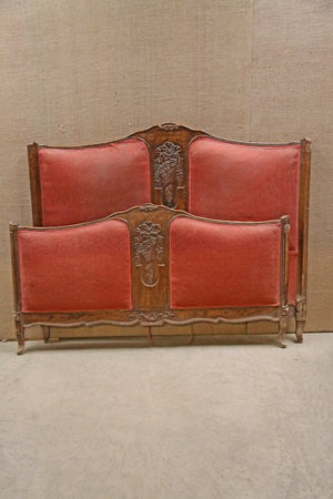 Louis XV carved double bed