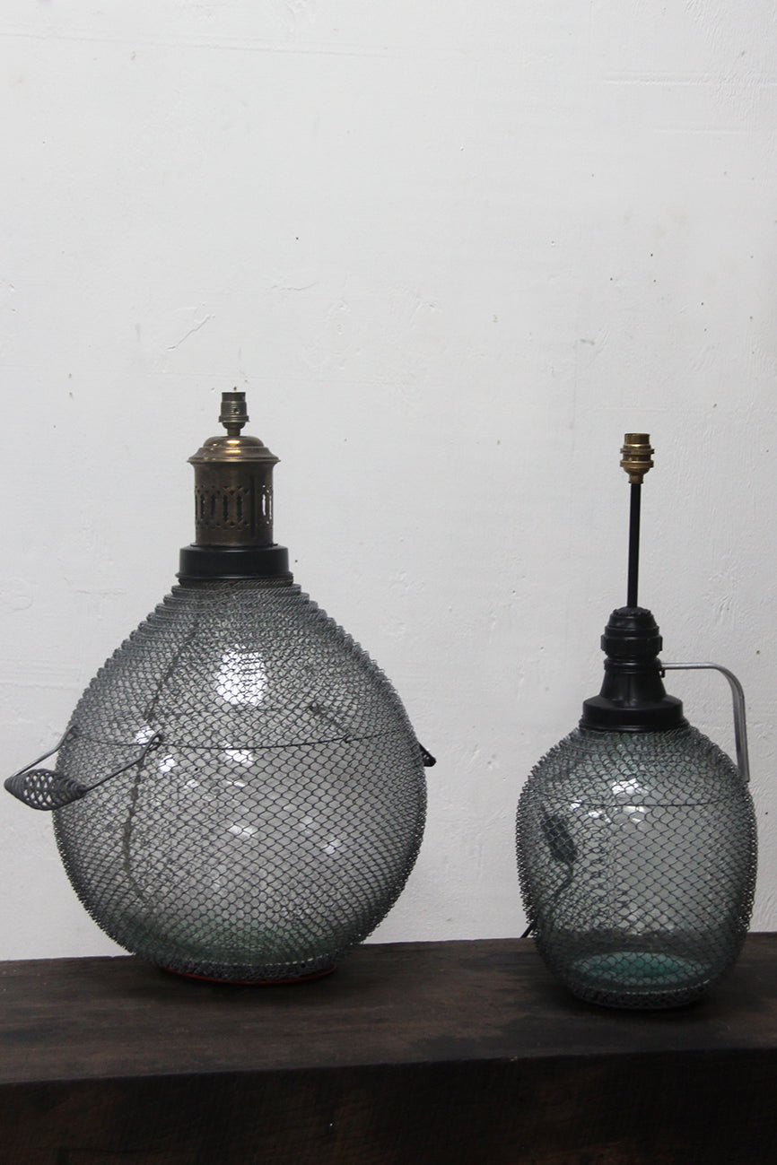 Glass bottle lamps (Large £110, small £95)