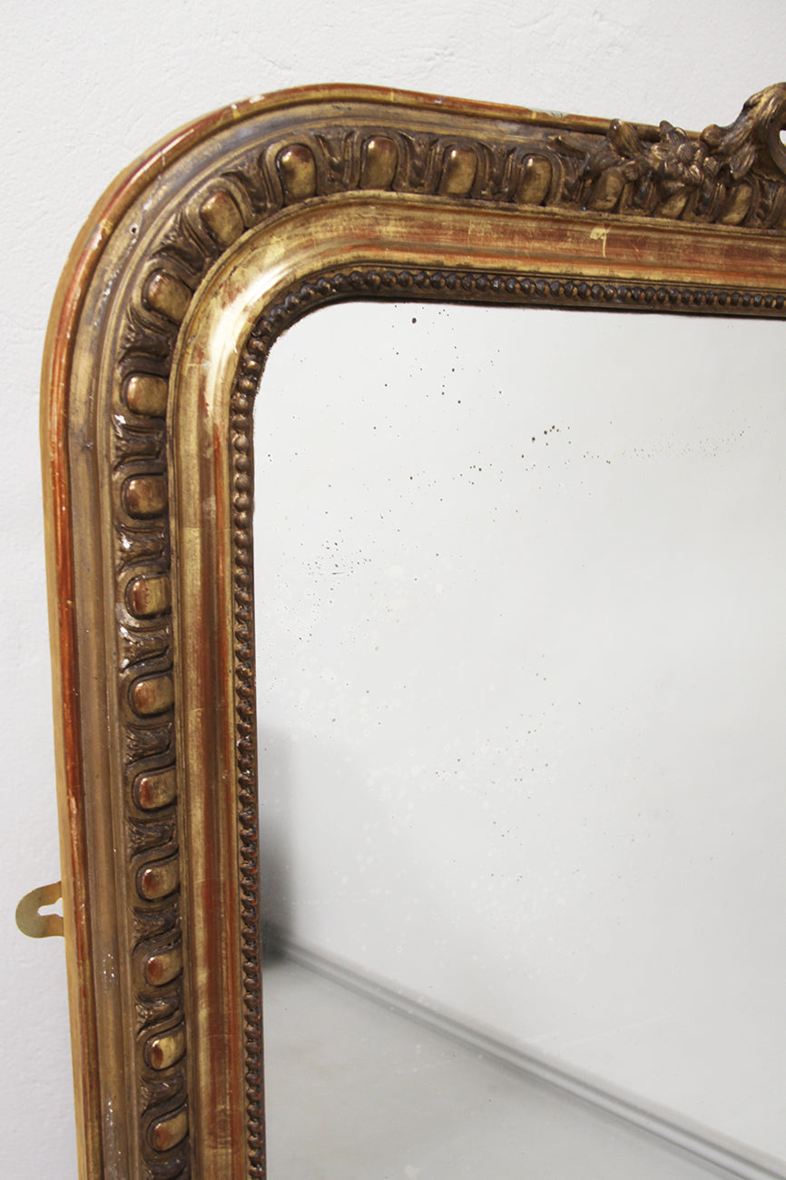 19thC. gilt square crested mirror