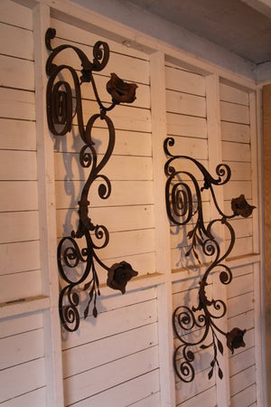 Pair of wrought iron wall lights