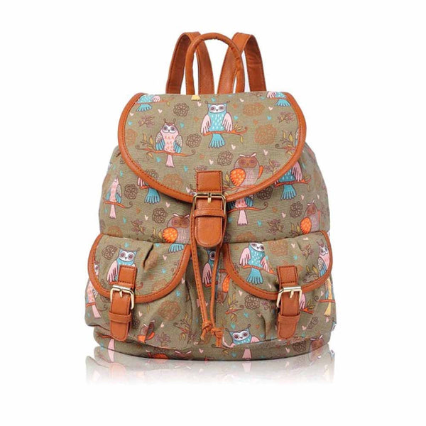 Owl Print Double Pockets Canvas School Backpack