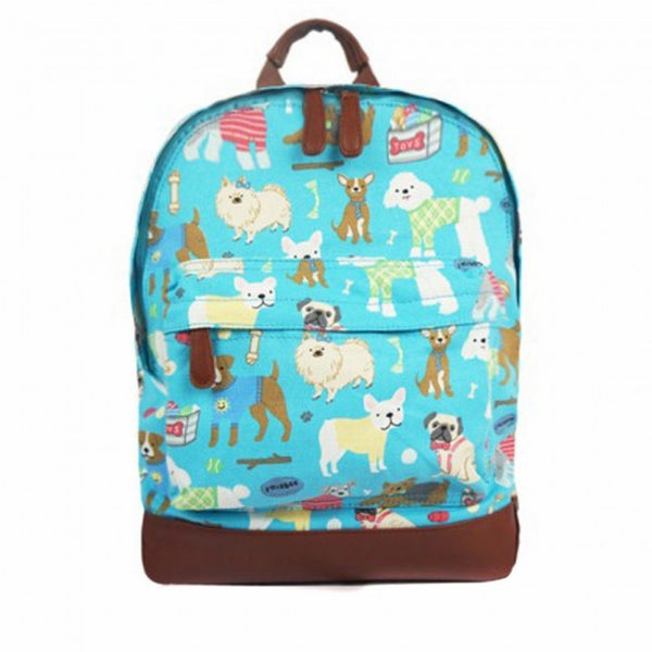 Mix Dog Print Single Pocket Canvas School Backpack