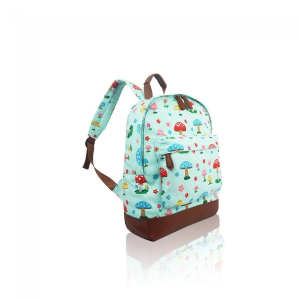 Mushroom Print Single Pocket Canvas School Backpack