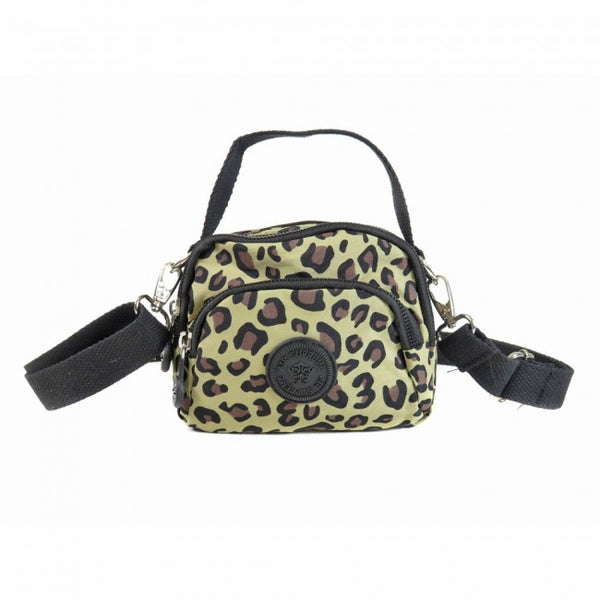 D-251-B  Mini Pattern Multiple Zip Handle Cross Body Bag