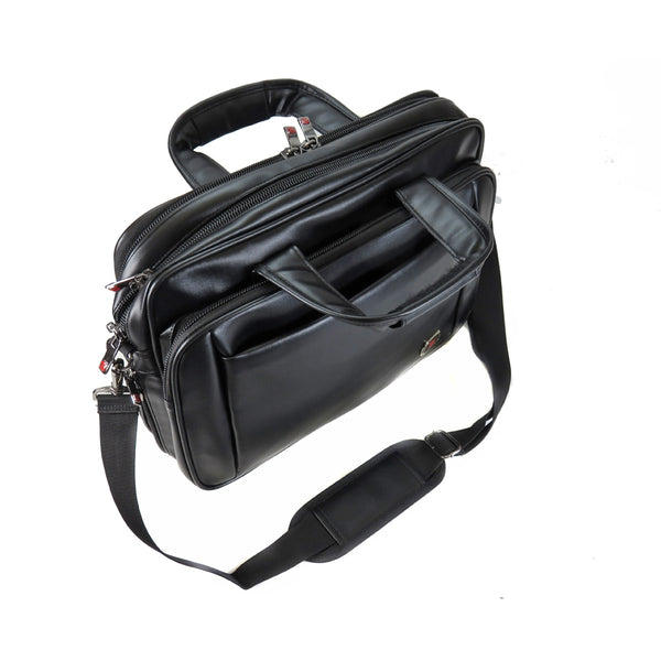 D-254 PU Leather Laptop Carry Bag