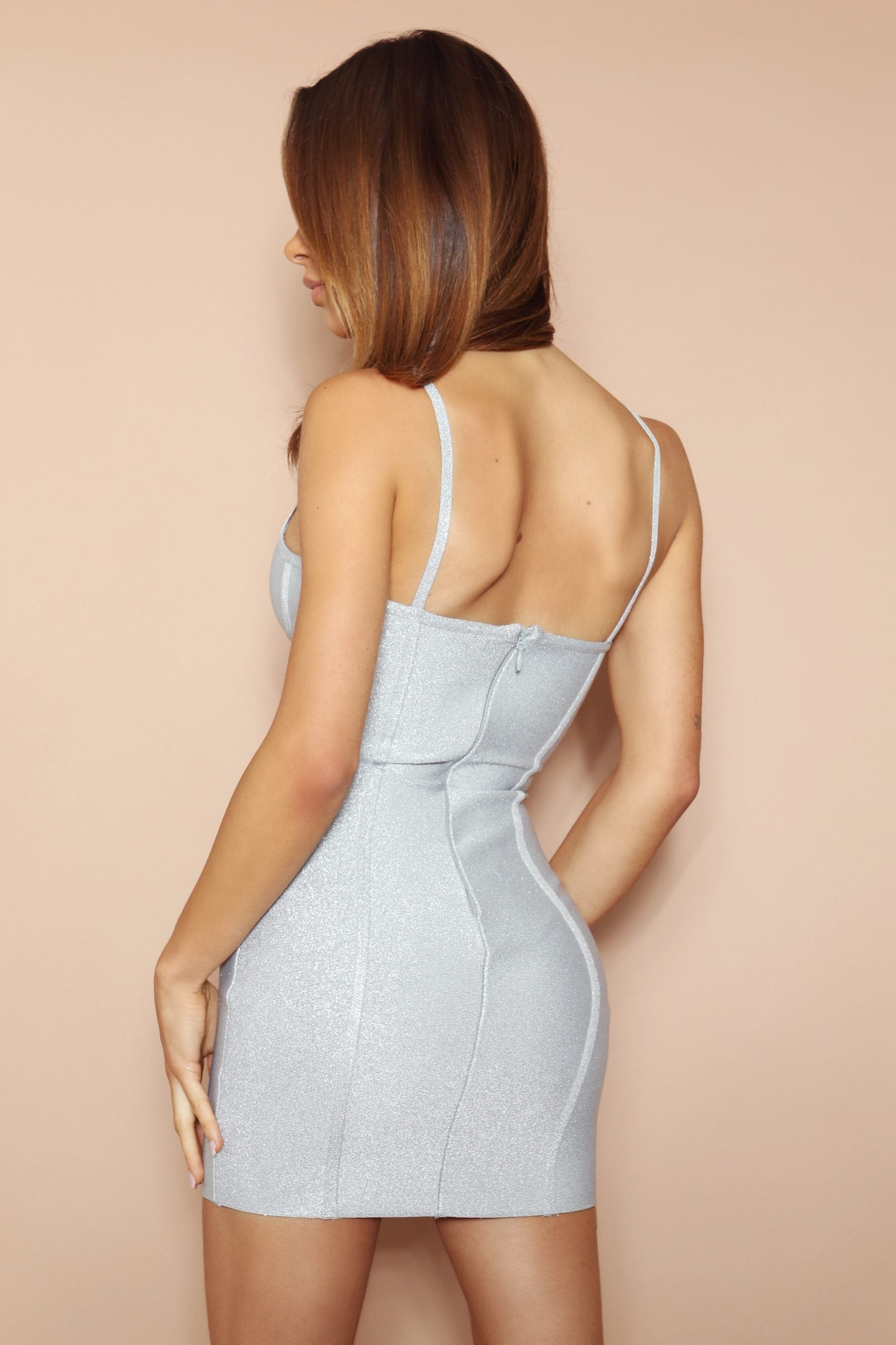 The Tullia Silver Sparkle Bandage Mini Dress