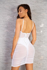 Load image into Gallery viewer, The Valeria Mesh Mini Dress White