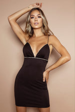 Load image into Gallery viewer, The Diamante Black Mini Dress