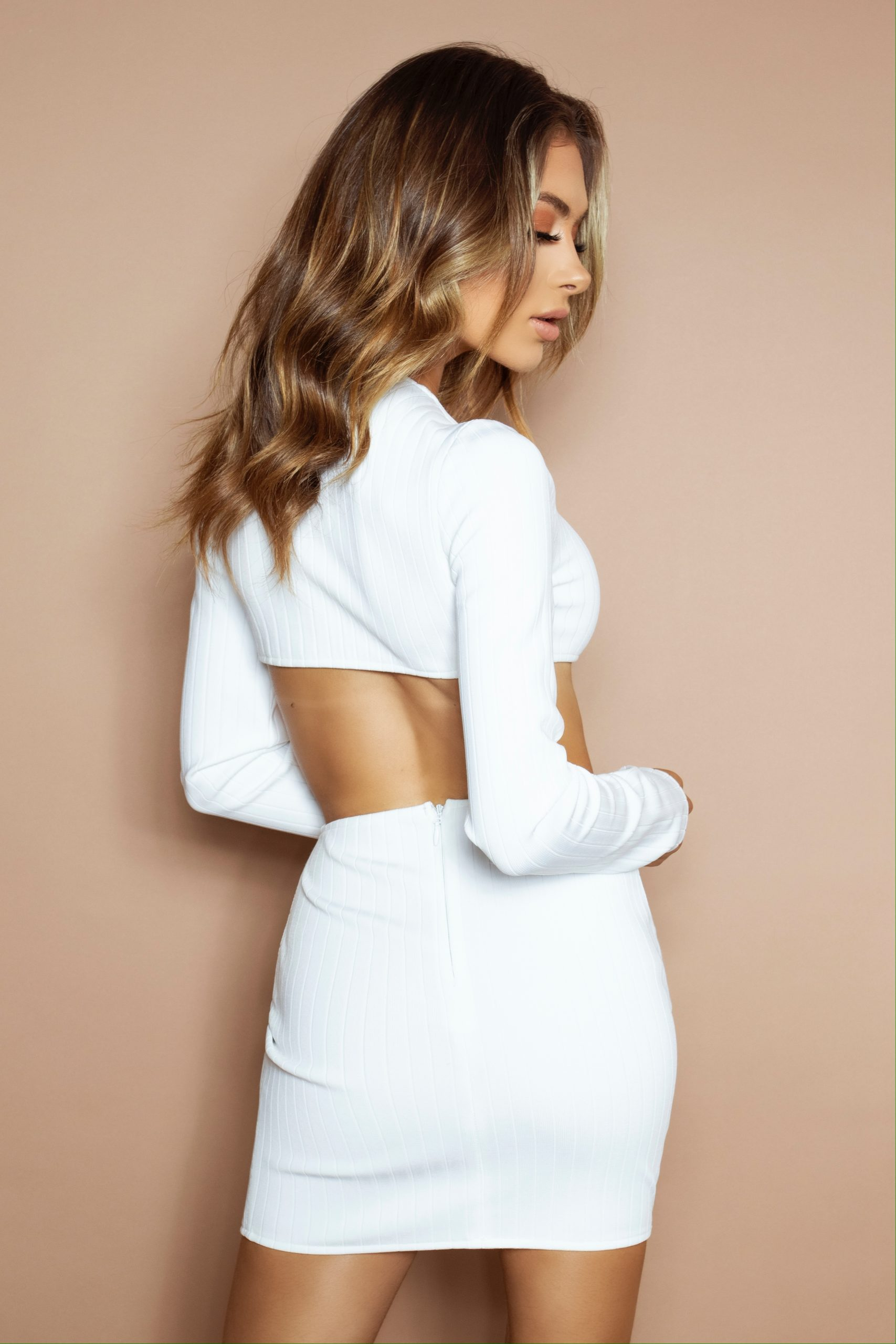 The White Zip Bandage Two Piece
