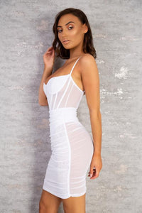 The Valeria Mesh Mini Dress White