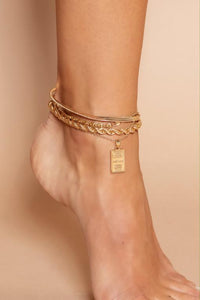 Gold Pendant Layering Anklet