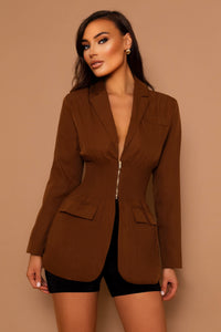 The Lola Zip Blazer Brown