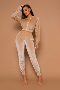 The Velour Cropped Beige Tracksuit Set