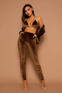 The Velour Tracksuit 3 Piece Set Brown - PRE-ORDER