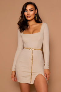 The Taina Beige Ribbed Mini Dress