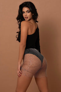 The Mesh Diamante Mini Skirt - View for more colour