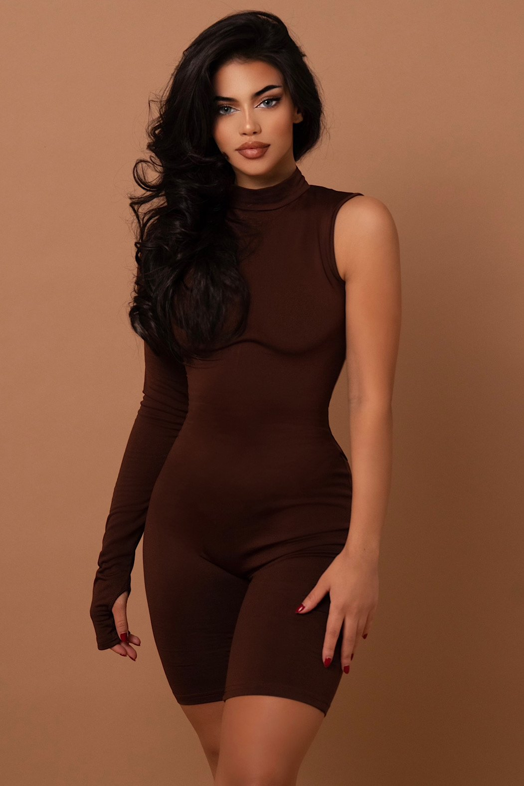 The One Sided Playsuit Brown