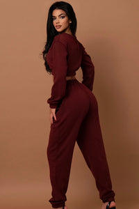 The Ribbed Tracksuit Set Burgundy
