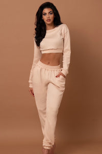 The Ribbed Tracksuit Set Beige