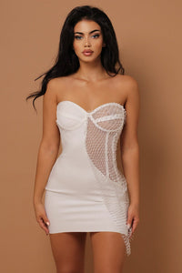 The Nova Mesh Bandage Mini Dress Diamanté Detailing