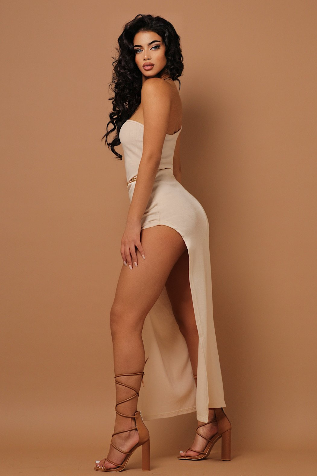 The Beige Ribbed One Sided Maxi Dress - PRE-ORDER