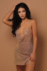 The Let Me Shine Diamanté Dress Gold - PRE ORDER