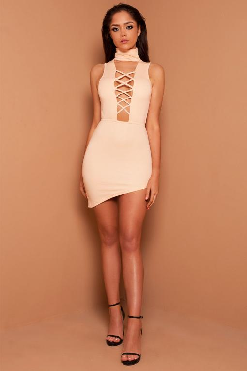 Lace Up Nude Mini Dress