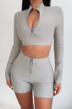 Load image into Gallery viewer, The Sienna Grey Bandage Two Piece Diamante Zip