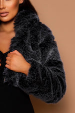 Load image into Gallery viewer, The Faux Fur Cropped Coat Grey