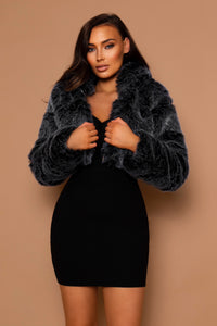 The Faux Fur Cropped Coat Grey