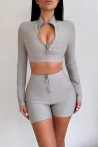 The Sienna Grey Bandage Two Piece Diamante Zip