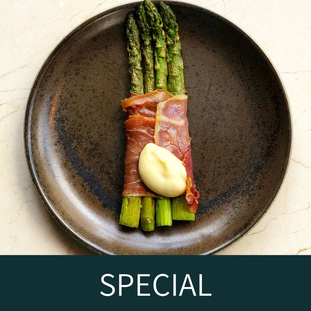 Asparagus wrapped in Serrano ham with citrus mayonnaise