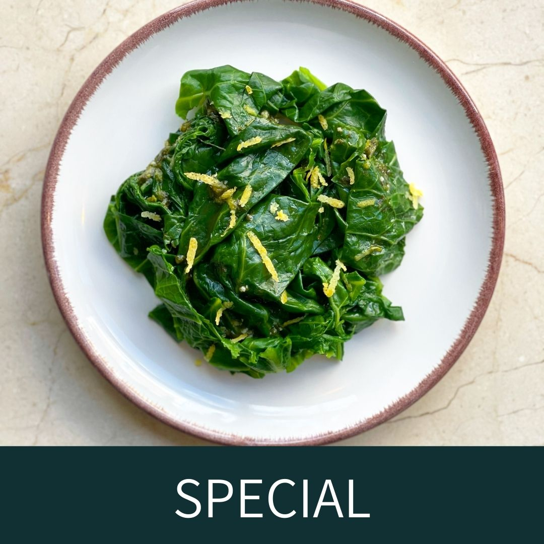 Spring greens with wild garlic vinaigrette (VE) - available from 20th April