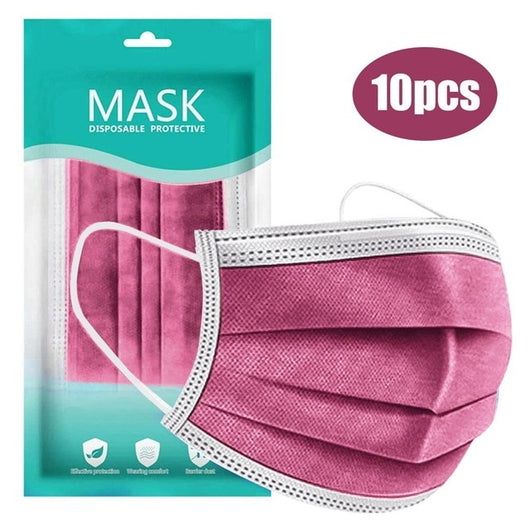 10PC black Disposable Face Mask Skin Care Personal 3ply Non-woven Cloth Halloween Cosplay Disposable Adult Unisex Masks Masque